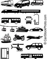 veicoli, set, trasporto pubblico, icone