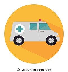 veicolo, ambulanza, emergenza, icona