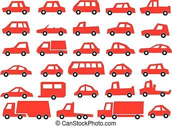 veicolo, /, automobile, illustrazione, collezione, automobile, icona, set