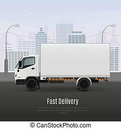 veicolo carico, composizione, realistico