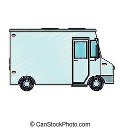 veicolo carico, scarabocchio, furgone