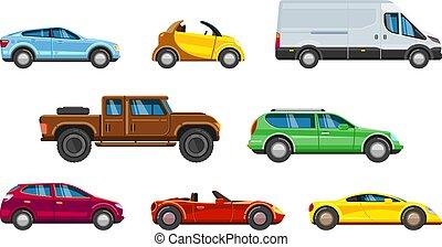 veicolo, collection., urbano, trasporto, in, città, auto