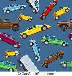 veicolo, collezione, sealess, pattern., urbano, trasporto, in, città, auto