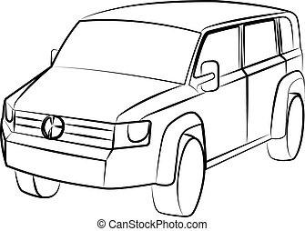 veicolo, contorno, utilità, sport, vettore, illustrazione