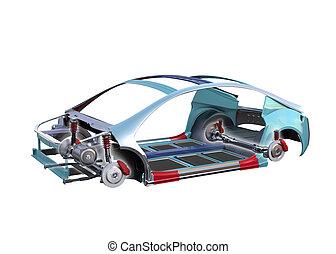 veicolo elettrico, corpo, cornice