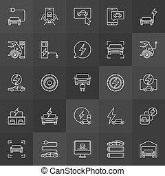 veicolo elettrico, vettore, linea, icone, collezione