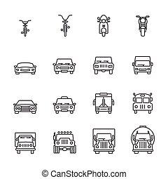 veicolo, icona, sets., linea, icons.