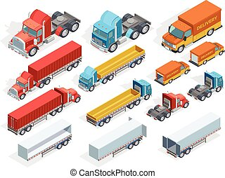 veicolo, isometrico, collezione