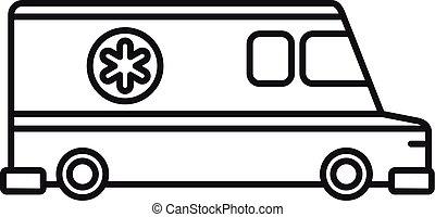 veicolo, stile, ambulanza, contorno, icona