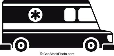 veicolo, stile, semplice, ambulanza, icona