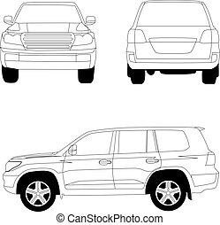 veicolo utilità sport, automobile, vettore, linea, illustrazione, bianco