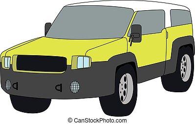 veicolo, utilità, sport, isolato, vettore, illustrazione