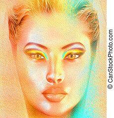 Veil and woman's face, close up.