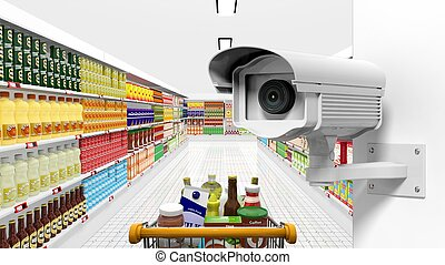 veiligheid, bewaking camera, met, supermarkt, interieur, als, achtergrond