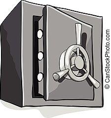 veiligheid, brandkast, metaal, witte achtergrond