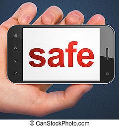 veiligheid, brandkast, smartphone, concept: