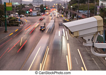 veiligheid, cctv fototoestel, het werken, op, de, straat