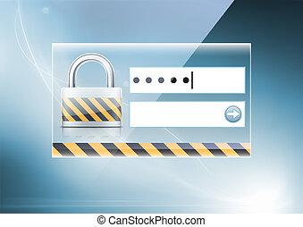 veiligheid, concept, computer