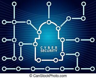 veiligheid, concept, cyber