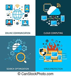 veiligheid, concept, set, netwerk
