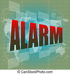 veiligheid, concept:, waarschuwing, woord, op, digitale , scherm