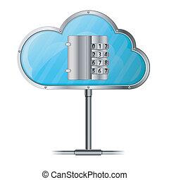 veiligheid, concept, wolk, gegevensverwerking