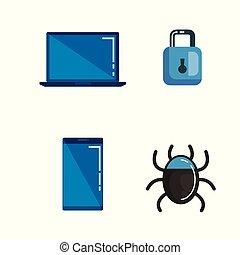 veiligheid, gegevensmidden, iconen