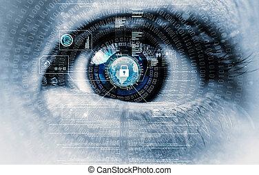 veiligheid, oog, internet