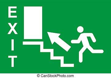 veiligheid, rennende , ontsnapping, man, helpen, pictogram, evacuatie, vector, symbool., afslaf, teken., deur