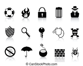veiligheid, set, black , pictogram