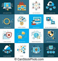 veiligheid, set, netwerk, iconen