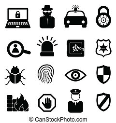 veiligheid, set, pictogram