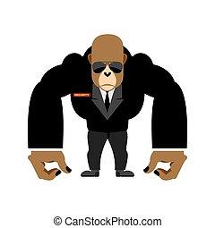 veiligheid, vector, conducteur, black , gorilla, groot, lijfwacht, animal., suit., illustratie