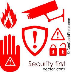 veiligheid, vector, iconen