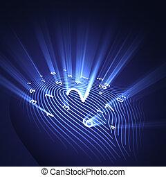 veiligheid, vingerafdruk, digitale
