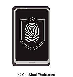 veiligheid, vingerafdrukken, cellphone., cyber