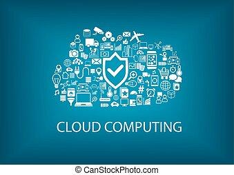 veiligheid, wolk, gegevensverwerking