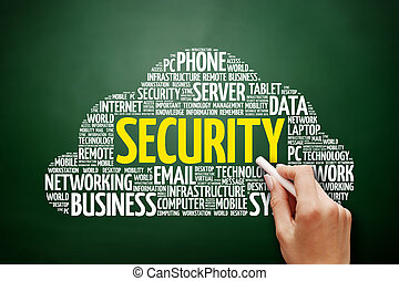 veiligheid, woord, wolk, collage