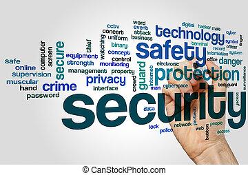 veiligheid, woord, wolk, concept