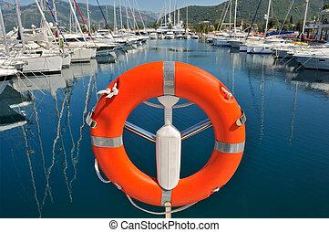 veiligheid, zeebaken, in, jachthaven