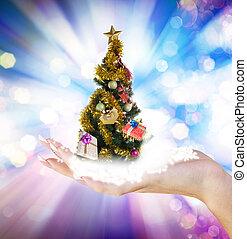 veille noël, arbre, dons