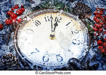 veille noël, et, nouvelles années, à, minuit