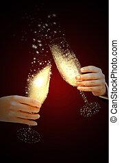 veille, toast, nouvelle année