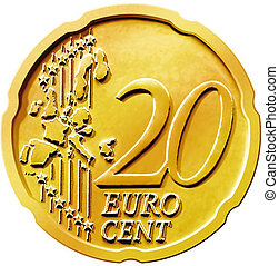 veinte, (20), moneda, centavo, euro
