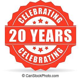 veinte, años, aniversario, celebrar, icono