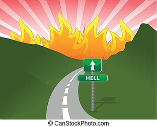 vej, illustration, begreb, helvede