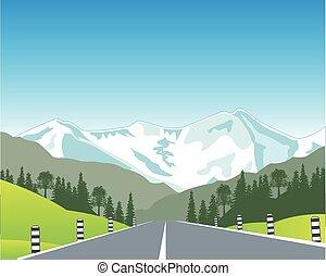 vej, ind, bjerg