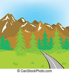 vej, ind, bjerge