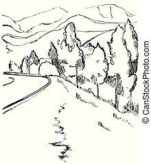 vej, ind, countryside., hånd, stram, landskab, sketch., bjerge
