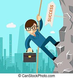 vej, ledelse, success., aspires, forretningsmand